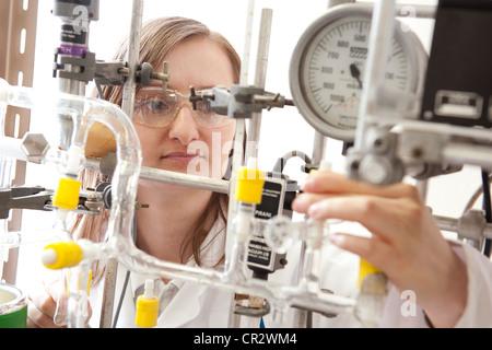 laboratory technician working in lab - Stock Photo