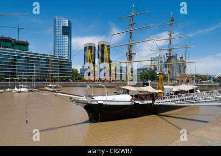 Puerto Madero, Buenos Aires, Argentina showing the museum ship Corbeta - Stock Photo