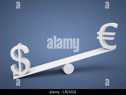 Seesaw out of balance, the U.S. dollar is heavier than the euro, currency, symbolic image for imbalance, dominance - Stock Photo