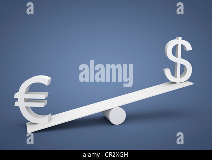 Seesaw out of balance, the euro is heavier than the U.S. dollar, currency, symbolic image for imbalance, dominance - Stock Photo