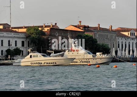 Guardia di Finanza, boats of the fiscal authority, police, moored in Venice, Veneto, Italy, Europe - Stock Photo