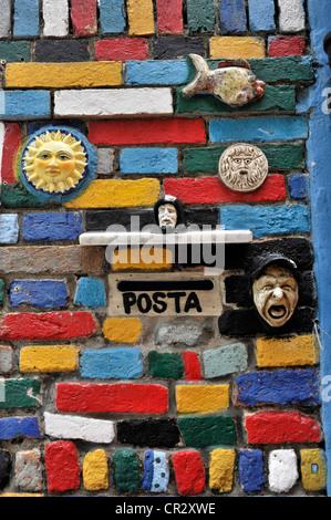 Letterbox, coloured facade, Burano Island, Venice, Veneto, Italy - Stock Photo