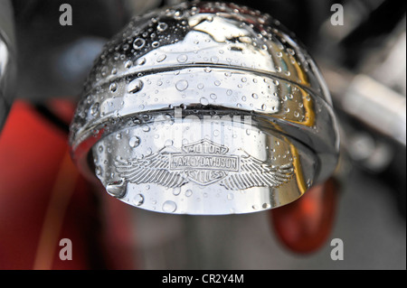 Additional headlight, Harley Davidson motorcycle, built in 1950, Santa Clara, Cuba, Central America, America - Stock Photo