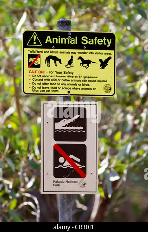 Warning sign, animal safty, no swimming because of crocodiles, Kakadu National Park, Northern Territory, Australia - Stock Photo