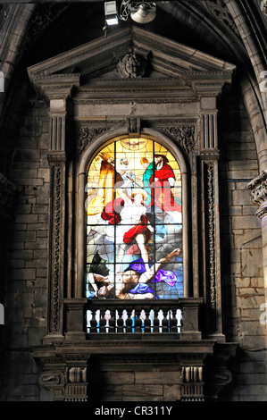 Stained glass church window, Milan Cathedral, Duomo di Milano, construction begin 1386, completion 1858, Milan, - Stock Photo