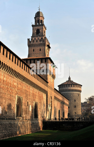 Fortezza Sforzesco, Sforza Castle, built from 1450, Milan, Milano, Lombardy, Italy, Europe, PublicGround - Stock Photo