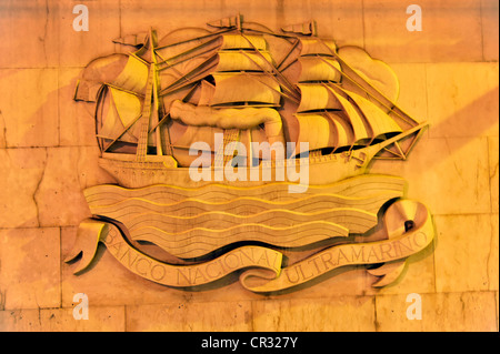 Ship as a wall relief of a bank building, Rua Augusta, Baixa Chiado, Lisbon, Portugal, Europe - Stock Photo