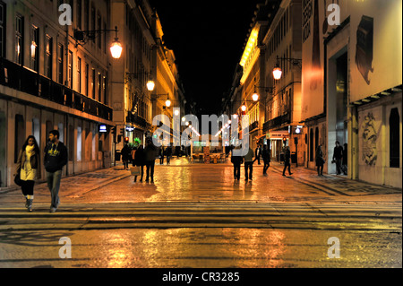 Rua Augusta, Baixa Chiado, Lisbon, Portugal, Europe - Stock Photo