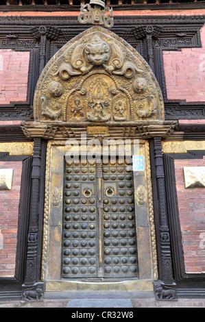 Entrance door to a museum, Durbar Square of Patan, Lalitpur, Kathmandu, Kathmandu Valley, Nepal, Asia - Stock Photo