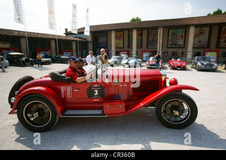OM 665 Superba 1929 3, Johann Georg Fendt, Corinna Fendt, vintage car race, Mille Miglia or 1000 Miglia Museum, - Stock Photo