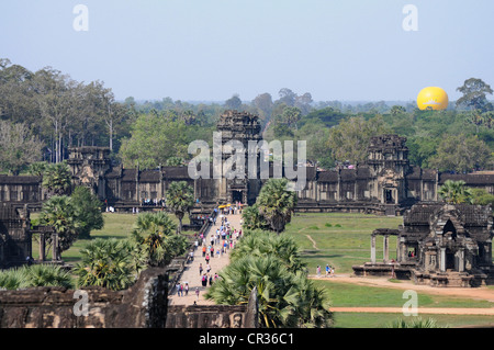 Western entrance, view from the top level, Temple Mount, Angkor Wat, Siem Reap, Cambodia, Southeast Asia - Stock Photo