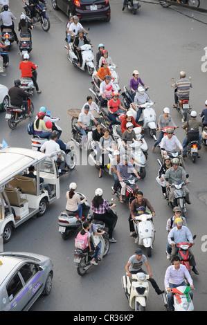 Mopeds, road traffic, Hanoi, Vietnam, Southeast Asia - Stock Photo