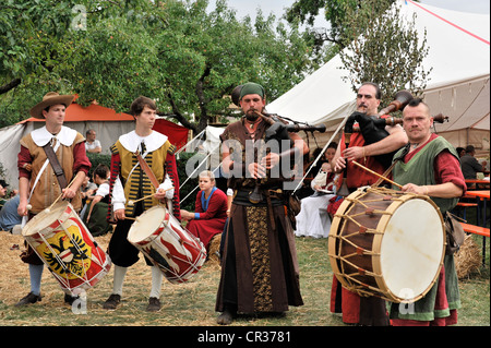 Stadtpeifferey musicians wearing historical costumes, Imperial City Festival Rothenburg 2011, historic Rothenburg - Stock Photo