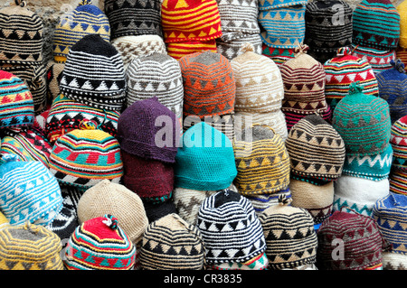 Hats on display for sale, souvenirs, Essaouira, Morocco, Africa - Stock Photo
