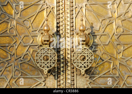 Brass door knocker on the gate of the royal palace, Dar el Makhzen, Fez, Fes, Morocco, Africa - Stock Photo