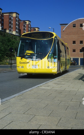 Quaylink Hybrid Electric Bus Service connecting Newcastle Upon Tyne and Gateshead City Centres in North East England. - Stock Photo