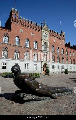 Sculpture in front of Odense Town Hall, Odense, Denmark, Europe - Stock Photo