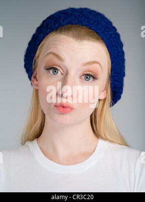Pale complexion Caucasian girl with blonde / blond hair in her twenties - Stock Photo