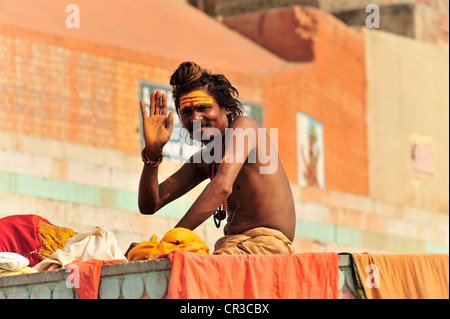 Sadhu or holy man, Varanasi, Benares, Uttar Pradesh, India, South Asia - Stock Photo
