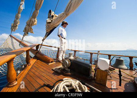 Italy Sicily Aeolian Islands listed as World Heritage by UNESCO Salina Island Sigismondo Schooner coastal navigation - Stock Photo