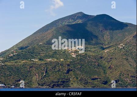 Italy, Sicily, Aeolian Islands, UNESCO World Heritage, Filicudi Island, Valdichiesa village at the bottom of Fossa - Stock Photo