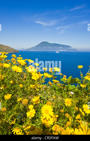 Italy, Sicily, Aeolian Islands, UNESCO World Heritage, Filicudi Island, view from Lipari on the heights of Acquacalda - Stock Photo
