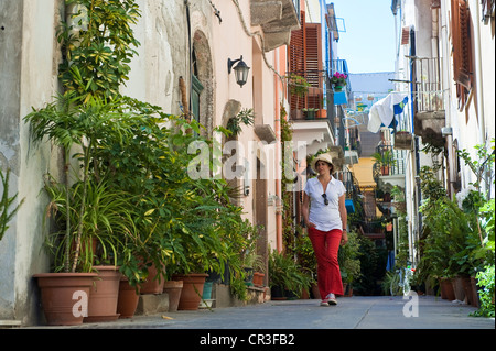 Italy Sicily Aeolian Islands listed as World Heritage by UNESCO Lipari Island Lipari pedestrian street in the historical - Stock Photo