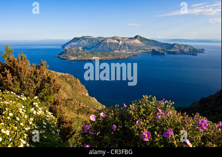 Italy, Sicily, Aeolian Islands, UNESCO World Heritage, Vulcano Island and Vulcanello Peninsula seen from Lipari - Stock Photo