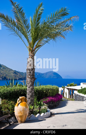 Italy, Sicily, Aeolian Islands, UNESCO World Heritage, Vulcano Island, Vulcanello Peninsula, Therasia Resort - Stock Photo