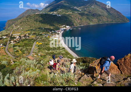 Italy Sicily Aeolian Islands listed as World Heritage by UNESCO Filicudi Island Capo Graziano hiking to see ruins - Stock Photo