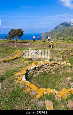 Italy, Sicily, Aeolian Islands, UNESCO World Heritage, Filicudi Island, Capo Graziano, ruins of the Neolithic village - Stock Photo