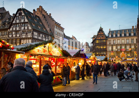 Christmas market in Colmar, Alsace, France, Europe - Stock Photo