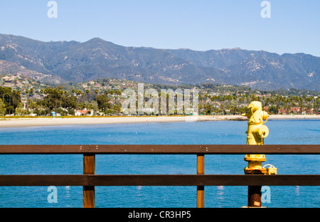 View of beach and mountains from Stearn's wharf in 'Santa Barbara' California - Stock Photo