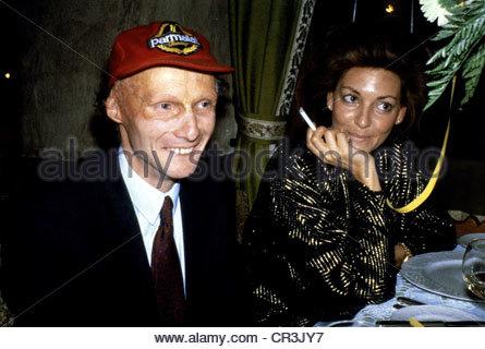 Lauda, Nikolaus 'Niki', * 22.2.1949, Austrian racing driver, entrepreneur, portrait, with his wife Marlene, 1980s, - Stock Photo