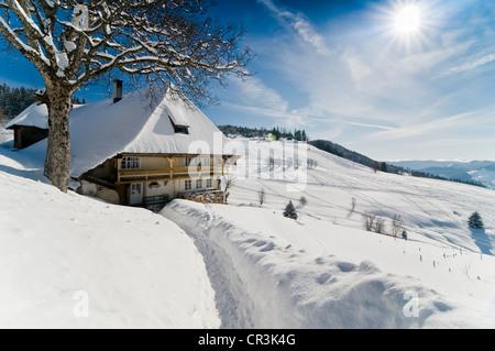 Snow-covered farmhouse in Muggenbrunn, Black Forest mountain range, Baden-Wuerttemberg, Germany, Europe - Stock Photo