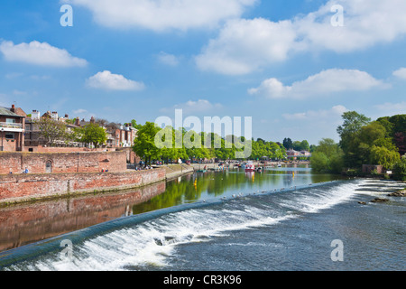 Chester Weir crossing the River Dee at Chester Cheshire England UK GB EU Europe - Stock Photo