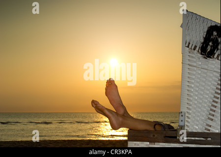 Beach chairs and bare feet, List, Sylt, Schleswig-Holstein, Germany, Europe - Stock Photo