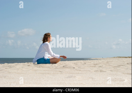 Woman on the beach, List, Sylt island, Schleswig-Holstein, Germany, Europe - Stock Photo