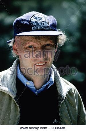 Lauda, Nikolaus 'Niki', * 22.2.1949, Austrian racing driver, entrepreneur, portrait, early 1980s, baseball cap, - Stock Photo