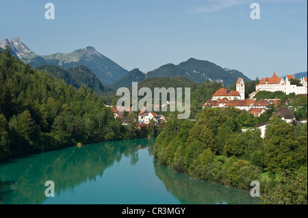 view on Fuessen with Lech river, church St. Mang, castle ...