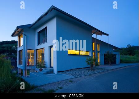 Modern detached house, blue hour, Kaiserstuhl, Baden-Wuerttemberg, Germany, Europe - Stock Photo
