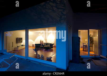 Modern detached house, blue hour, Kaiserstuhl, Baden-Wuerttemberg, Germany, Europe - Stock Photo