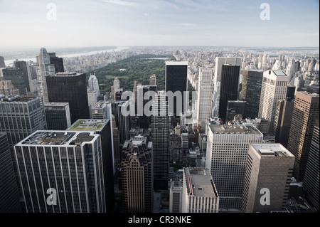 View from the Rockefeller Center with Central Park, Manhattan, New York, USA - Stock Photo