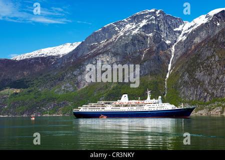 Cruiseship Marco Polo in Eidfjord, Hardangerfjord, Norway, Europe - Stock Photo