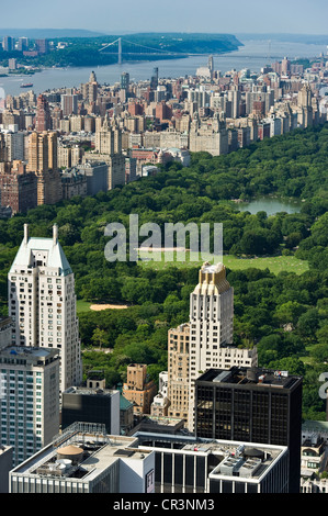 Central Park, view from the Rockefeller Center, Manhattan, New York, USA - Stock Photo