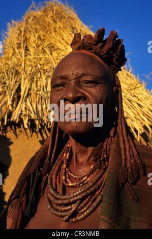 Namibia, Kunene Region, Kaokoland, portrait of Himba woman