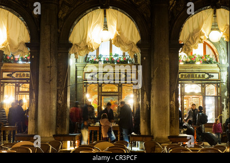 Caffè Florian coffee house on St Mark's Square, Piazza San Marco square, Venice, Italy, Europe - Stock Photo