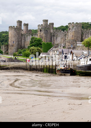 Historic Conwy Castle in North Wales, seen from the harbour - Stock Photo