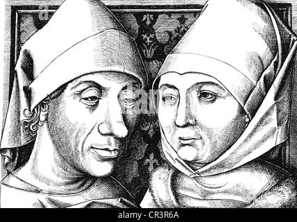 Meckenem, Israhel van, the Younger, circa 1440 - 10.11.1503, German copperplate engraver, self-portrait with wife - Stock Photo