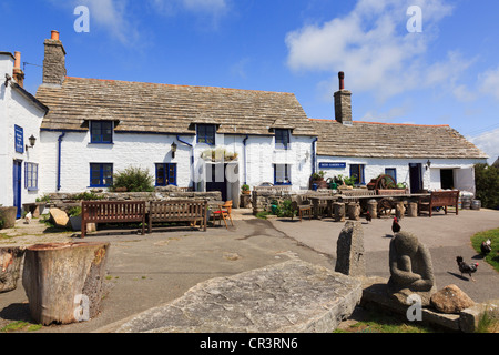 Traditional old Square and Compass country pub exterior in a Purbeck village of Worth Matravers Purbeck Dorset England UK Britain
